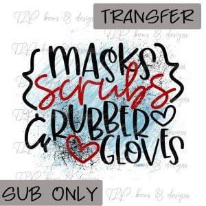 Mask Scrubs Gloves- Sublimation Transfer Only