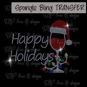 Happy Holidays Wine Glass Lights Transfer-SPANGLE