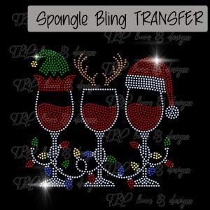 Wine Trio Santa Elf Reindeer-SPANGLE