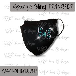 Butterfly Teal FaceCover Transfer-SPANGLE