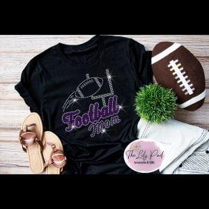 Football Mom Purple Silver Sparkle Bling Tee