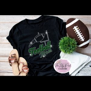 Football Mom Green Silver Sparkle Bling Tee
