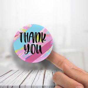 Thank you pink Teal splash Stickers