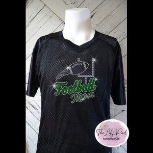 Football Mom Replica Vneck Jersey Bling Top-Black Green