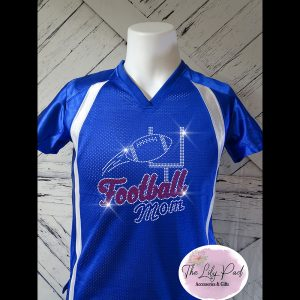 Football Mom Replica Vneck Jersey Bling Top-Blue Red