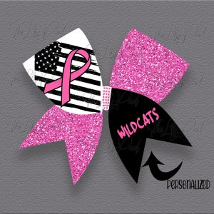 Flag with Pink Awareness Ribbon Glitter Cheer Hair Bow