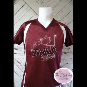 Football Mom Replica Vneck Jersey Bling Top-Maroon Black