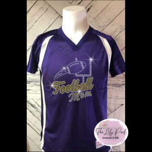 Football Mom Replica Vneck Jersey Bling Top-Purple YellowGold