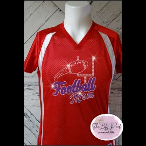 Football Mom Replica Vneck Jersey Bling Top-Red Blue