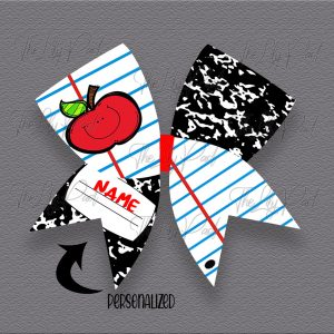 Notebook Apple with Name Hair Bow