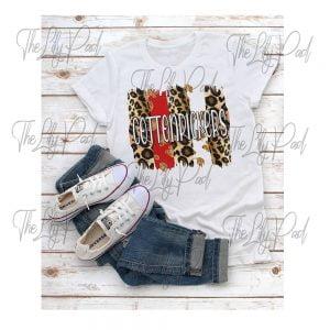 Brush Stroke Leopard FauxGlitter Spirit Shirt -Choose Your School