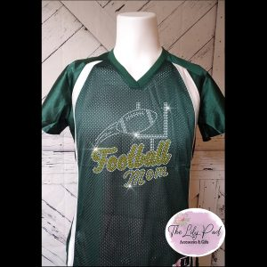 Football Mom Replica Vneck Jersey Bling Top-Green YellowGold