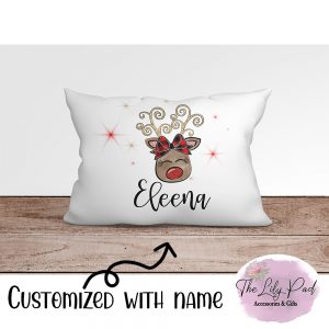 Girly Faux Sparkle Reindeer Personalized Pillowcase
