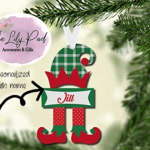 Green Plaid Hat Elf Personalized Ornament