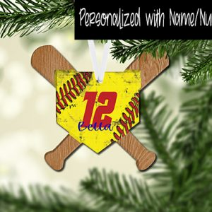 HomePlate with WoodBats Softball Customized Ornament