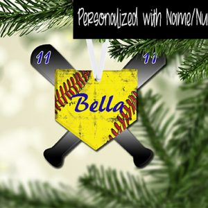 HomePlate with Bats Softball Customized Ornament