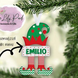Polka Dot Hat Elf Personalized Ornament