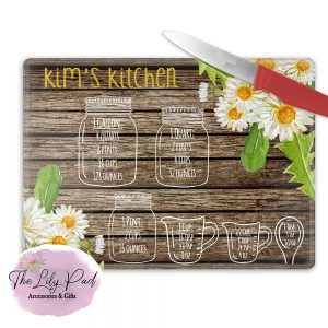 Personalized Glass Cutting Board -Sunflower Measuring cups