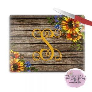 Personalized Glass Cutting Board -Sunflower Wood