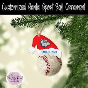 Santa Hat Sport BaseBall Customized Ornament