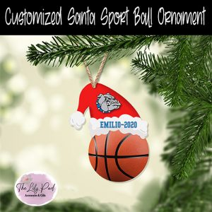 Santa Hat Sport Basketball Customized Ornament