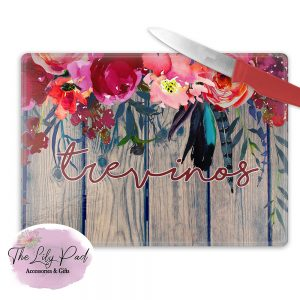 Personalized Glass Cutting Board -Boho Floral Wood