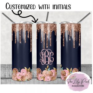 Navy and Pink Rose Personalized Skinny Tumbler