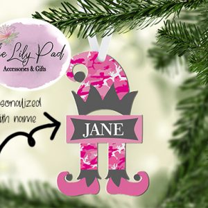 Pink Camo Elf Personalized Ornament