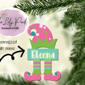 Pink Teal Elf Personalized Ornament