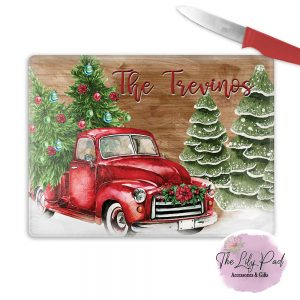 Personalized Glass Cutting Board -Christmas Red Truck