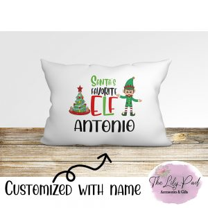 Santas Favorite Elf Boy Personalized Pillowcase