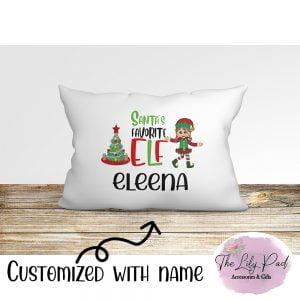 Santas Favorite Elf Girl Personalized Pillowcase