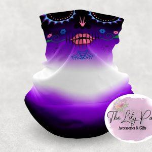 Day of Dead Sugar Skull Purple Black Neck-Face Gaiter
