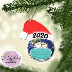 2020 Masked Globe Santa Hat Ornament