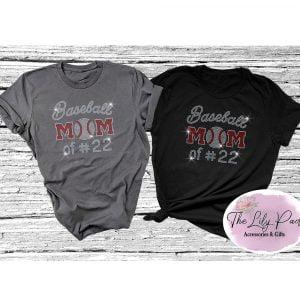 Baseball Mom of #… Bling Tee Shirt
