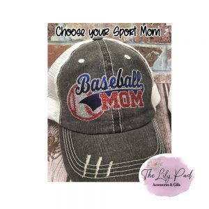 Sport Mom  Bling Hats- Pick your Sport and Colors