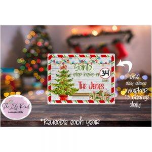 Santa Stop here Personalized Countdown Printed Dry Erase Board