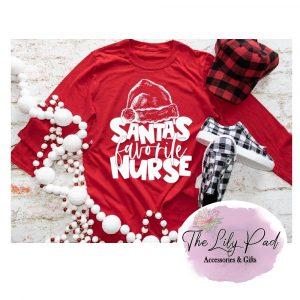Santa's Favorite Nurse Short or Long Sleeve Graphic Tee