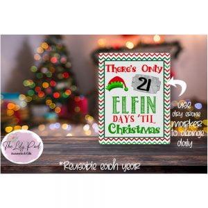 Elfin Christmas Countdown Printed Dry Erase Board