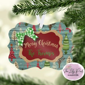 Country Burlap Christmas Ornament Personalized