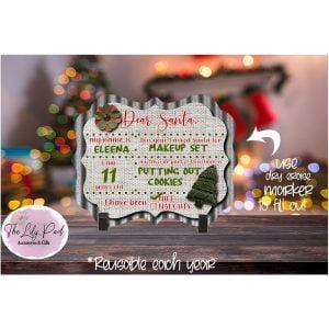Dear Santa  Printed Dry Erase Board