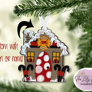 Gingerbread Christmas Fire House Ornament Personalized