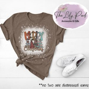 Rustic Merry Christmas Bleached Distressed Shirt-Limited available
