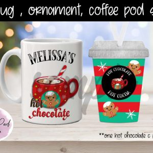 Holiday Gingerbread Hot Chocolate Pod Ornament- Gift Set
