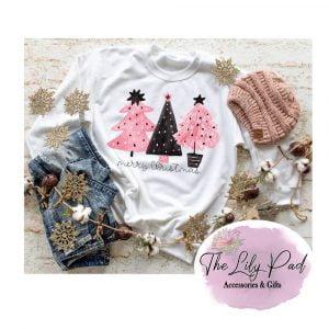 Merry Christmas Pink and Black Tree Trio Sweatshirt or Long Sleeve Tee
