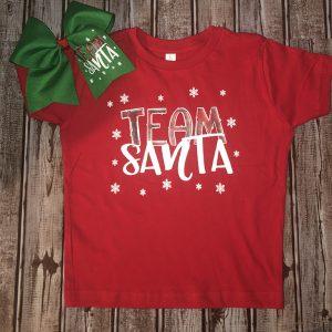 Team Santa Set- Red Tee and Green Bow