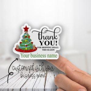 Thank You Shopping Christmas Tree Season Stickers