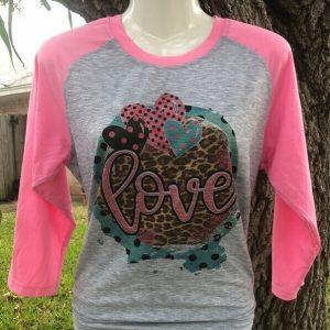 Funky Love Heart Cheetah Pink Sleeve Raglan