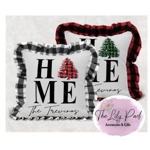 Personalized Home Family Name Buffalo Plaid Ruffle Pillow Cover- NO INSERT INCLUDED