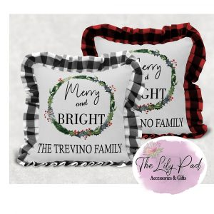 Personalized Merry & Bright Buffalo Plaid Ruffle Pillow Cover- NO INSERT INCLUDED